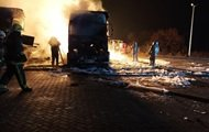An explosion at a gas station near Kharkov: two trucks burned down