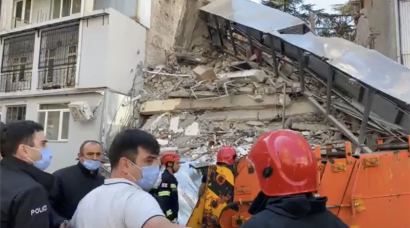 Part of a residential building collapsed in the Georgian city of Batumi