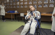 The Russian film crew entered the Earth's orbit.